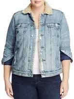 Lucky Brand Plus Sherpa Trimmed Denim Jacket