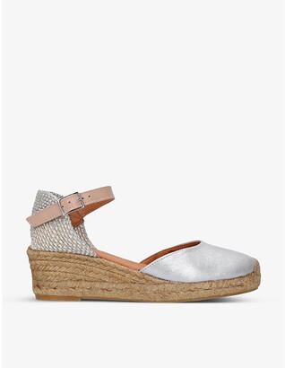 Kurt Geiger Minty metallic leather and raffia espadrille wedge sandals