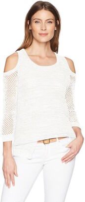Tribal Women's 3/4 Sleeve Cold Shoulder Sweater