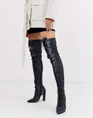 Asos Design DESIGN Knowledge lace up thigh high boots in snake-Multi
