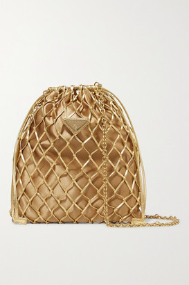 Prada Macrame Leather And Satin Bucket Bag - Gold