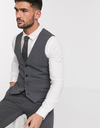 ASOS DESIGN super skinny suit waistcoat in four way stretch in charcoal