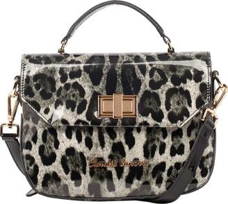 Claudia Canova Womens Patent Effect Leopard Print Satchel Shoulder Bag Grey (Grey)