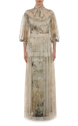 Alberta Ferretti Trompe L'Oeil Printed Chiffon Gown With Necktie And Flounced Sleeves