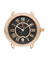 Michele 16mm Serein Watch Head with Diamonds, Black/Rose Gold