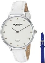 Akribos XXIV Women's Genuine Diamond Silver-Tone Accented Silver Dial with Brown Alligator Embossed White Leather Strap and Additional Blue Strap Watch AK933SS-BX
