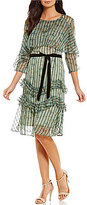 Eva Franco Harlow Stripe And Ruffle Dress