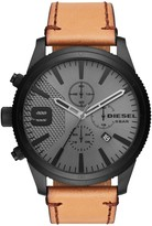 Diesel Men's Rasp Chronograph Leather Strap Watch, 50mm