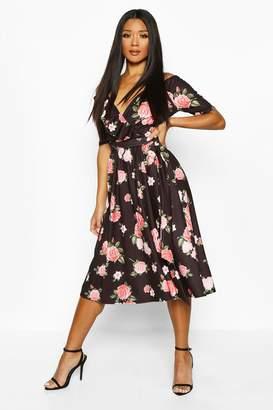 boohoo Rose Print Cold Shoulder Ruffle Midi Dress