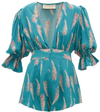 Adriana Degreas Aloe-print Silk-crepe Playsuit - Blue Print