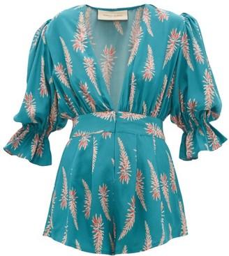 Adriana Degreas Aloe Print Silk Crepe Playsuit - Womens - Blue Print