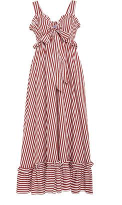 Thierry Colson Valentina Striped Cotton-Poplin Midi Dress
