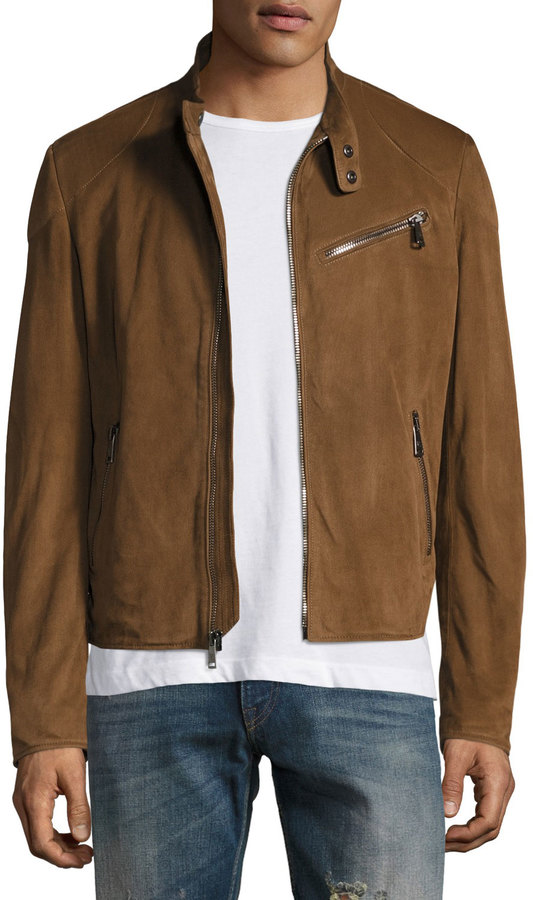 Ralph Lauren Suede Biker Jacket, Chestnut Brown