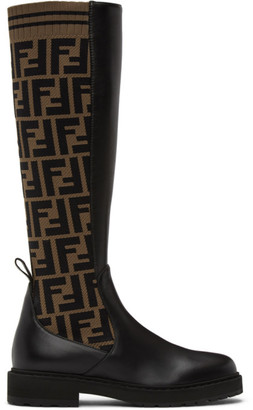 Fendi Brown and Black Forever Rockoko Tall Boots