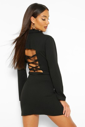 boohoo Lace Up Back Blazer Dress
