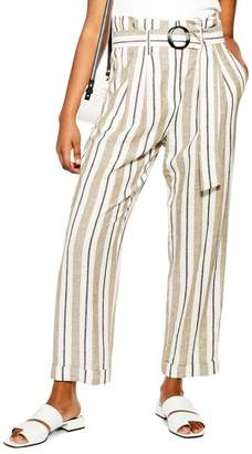 Topshop Stripe Belted Peg Trousers