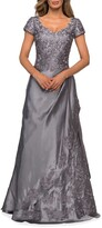Thumbnail for your product : La Femme Embroidered Lace Mikado Gown