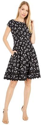 Kate Spade Dandelion Floral Ponte Dress (Black) Women's Dress