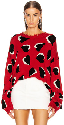 R 13 Hearts Oversized Sweater in Red & Hearts | FWRD