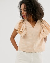 Asos textured cotton frill shell top