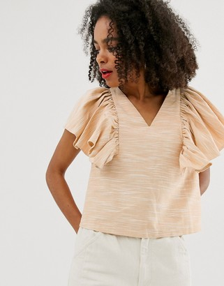 ASOS textured cotton frill shell top