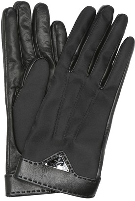 Prada Logo leather and nylon gloves