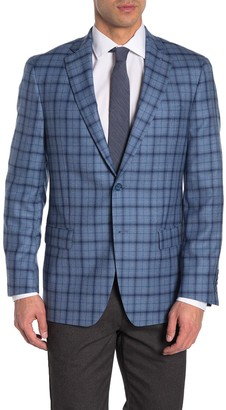 Hart Schaffner Marx Navy Plaid Two Button Notch Lapel Wool Sport Coat