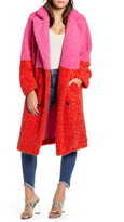 BLANKNYC Arrival Colorblock Faux Fur Coat