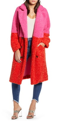 Blank NYC BLANKNYC Arrival Colorblock Faux Fur Coat