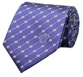 Versace Men's Medusa Logo Striped Symbol Pattern Silk Neck Tie Navy.
