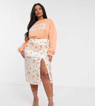 In The Style Plus x Meggan Grubb satin exclusive midi skirt in coral daisy print