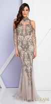 Terani Couture Cold Shoulder Long Sleeve Illusion Embellished Evening Dress