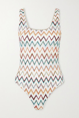 Missoni Mare Metallic Picot-trimmed Crochet-knit Swimsuit - White