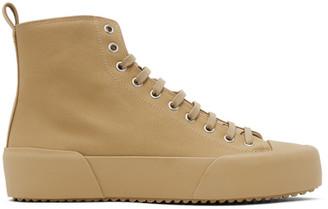Jil Sander Tan Canvas High-Top Sneakers