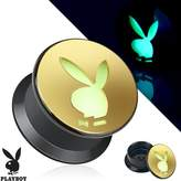 Playboy Bunny Cutout Gold IP Acrylic Glow in the Dark Screw Fit Plug (Sold as a Pair)