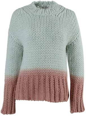 Ombre Dip Dye Knit Sweater White/ Pink