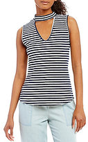 Takara Choker Neck Striped Knit Tank Top