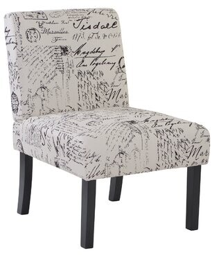 """Thumbnail for your product : One Allium Way Keisha 24.6"""" Wide Polyester Slipper Chair Body Fabric: Beige Script"""