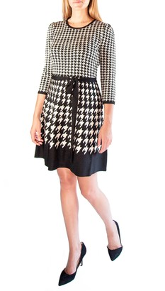 Nina Leonard Houndstooth Scoop Neck Jacquard Dress
