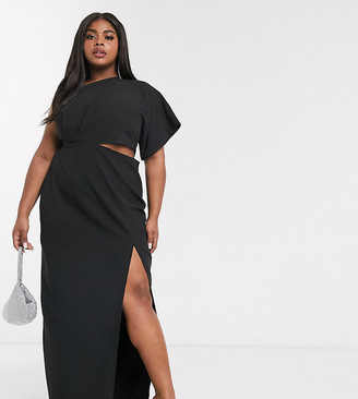 Vesper Plus maxi dress with thigh split in black