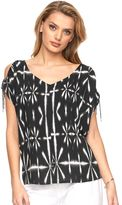 Juicy Couture Women's Drawstring Cold-Shoulder Top