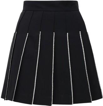 Area Pleated Mini Skirt W/crystals