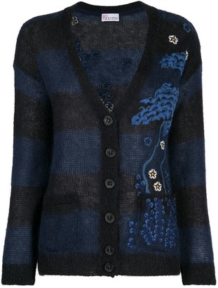 RED Valentino Floral-Embroidered Cardigan