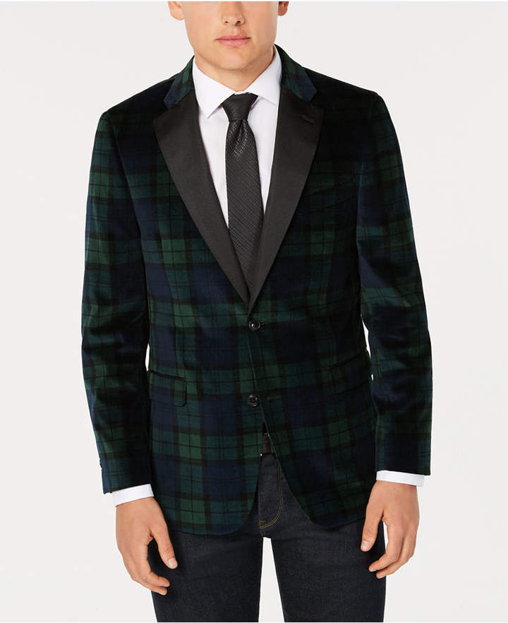 Tommy Hilfiger Men Modern-Fit Green/Navy Velvet Sport Coat