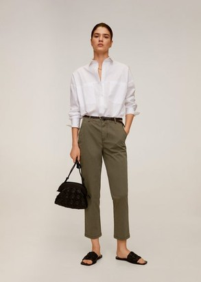 MANGO Leather belt pants khaki - 4 - Women