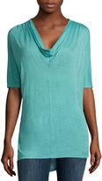 Liz Claiborne Short Sleeve Cowl Neck Knit Blouse-Talls