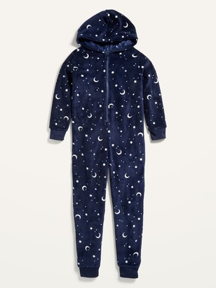 Old Navy Gender-Neutral Celestial-Print Micro Fleece Hooded One-Piece Pajamas for Kids