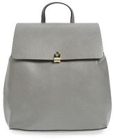 Topshop Barnet Faux Leather Backpack - Grey