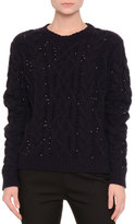 Valentino Sequined Cable-Knit Sweater, Navy/Black
