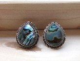 FootSoles24 Mother of Pearl Stud Earrings, Oxidized Sterling Silver Stud Earrings, Blue Gemstone Earrings - Bridesmaid Gifts